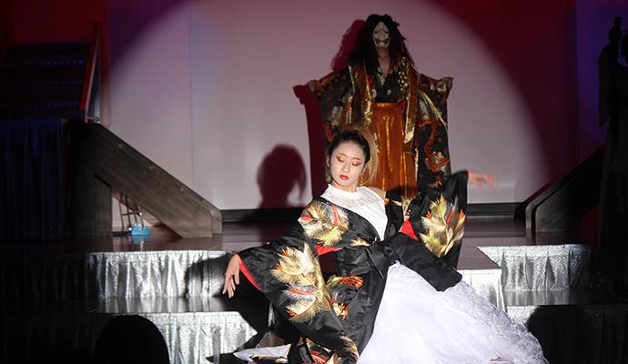 ヘアーショーの特別演目〈JAPAN〉着物とドレスの融合